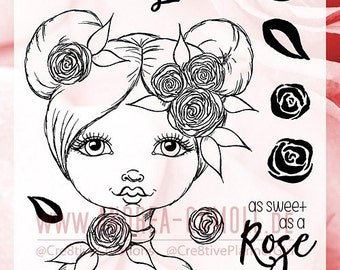 "Clear Stamp Set ""Romantic Rose"" - perfect to use in your Planners, Happymail, Cardmaking, Artjournaling etc. whimsical Illustration"