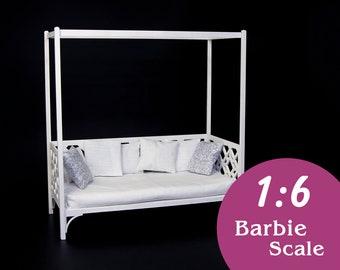 1:6 Doll sofa with canopy (DIY kit). Barbie canopy couch, Blythe outdoor sofa, 1/6 garden sofa, miniature canopy sofa, 1/6 outdoor furniture