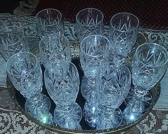 Set of 10 Vintage Sherry, Juice, Aperitif,  liquor or Juice Brunch Glasses ANNIVERSARY