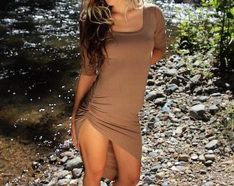 Side Scrunch dress, High slit ruched side, 3/4 sleeve dress