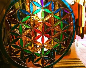 Rainbow, flower of life resin glass