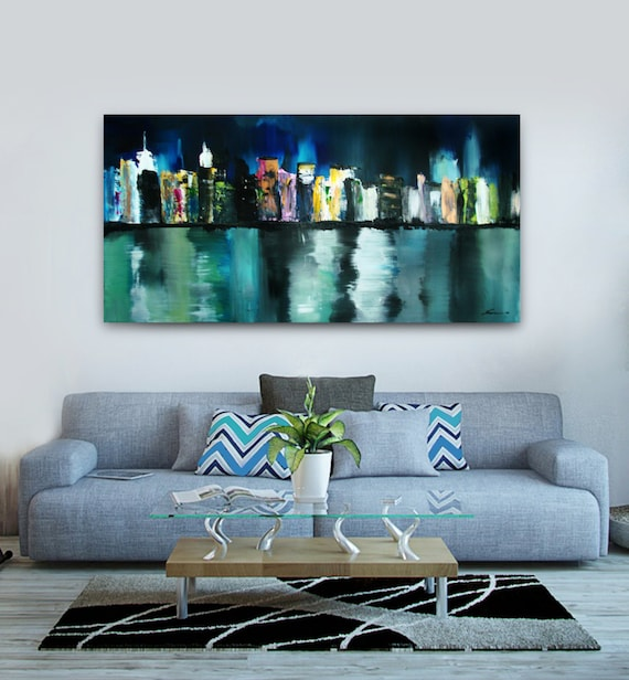 New York City Skyline Painting Abstract City Painting Nyc Etsy