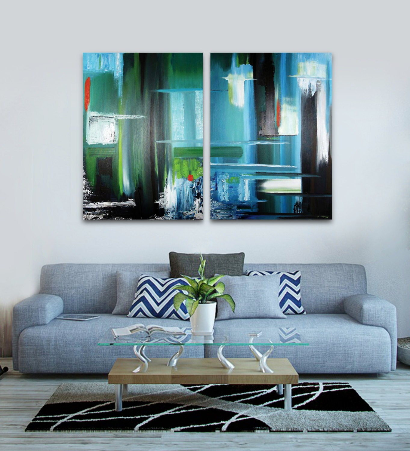 Original Diptic Abstract Painting Handmade Artwork 2 Paintings Contemporary Landscape Modern Artwork Beautiful Wall Decor Art Blue Painting