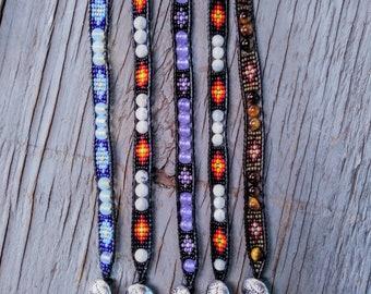 Metallic Patina and Bronze Art Glass Flexible Cuff Beadwork Bracelet Modestly Beautiful! Hand Woven Bracelet Checkerboard Cuff
