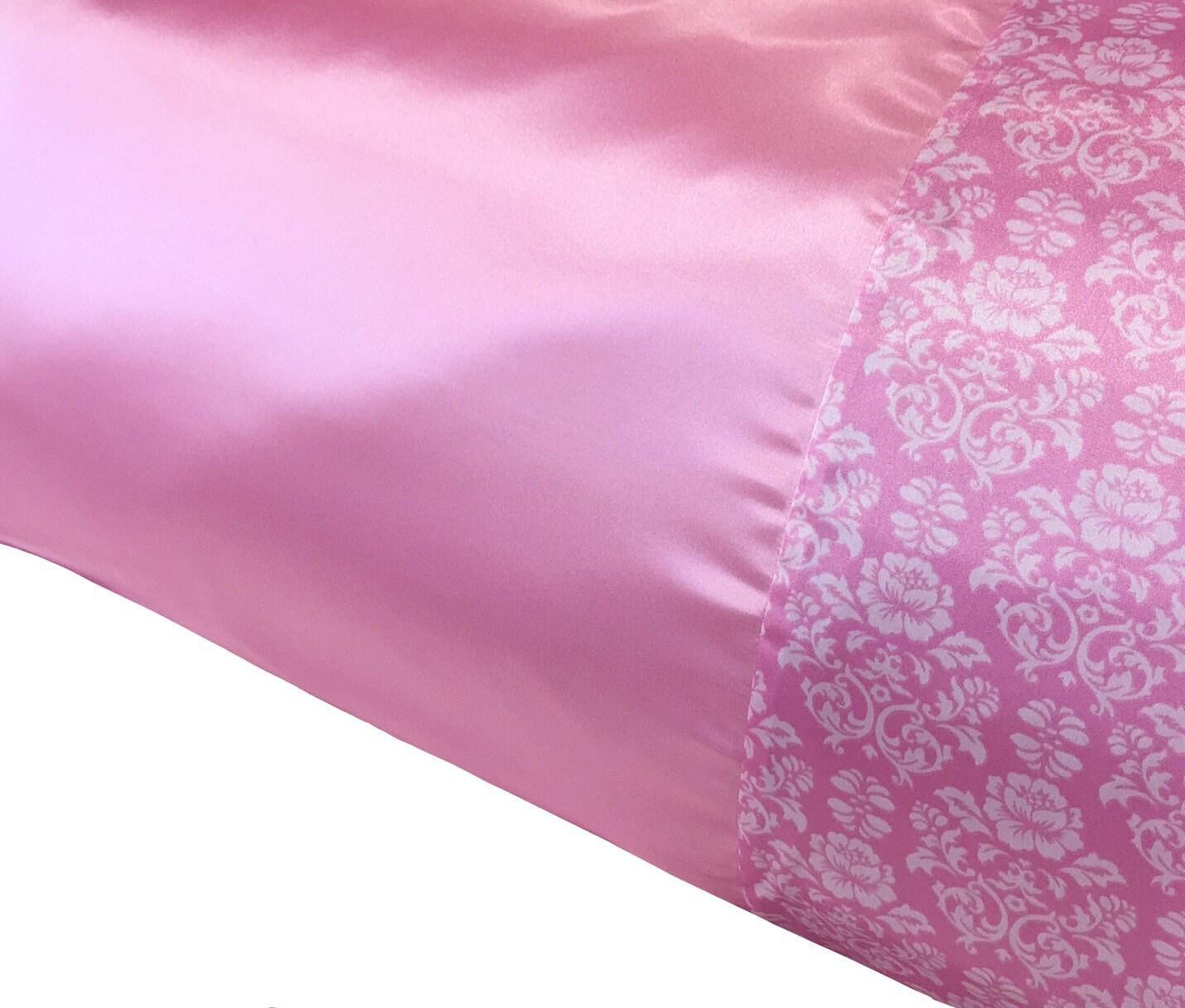 Cotton Candy Pink Amp Rose Damask Satin Pillowcase Satin
