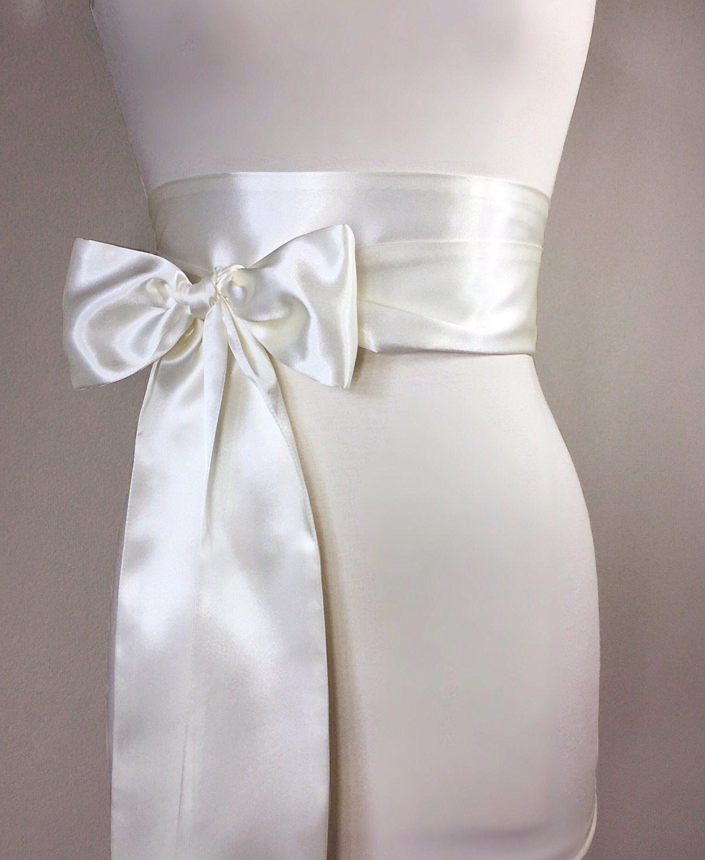 Light Ivory Satin Sash Bridal Sash Off White Wedding Dress