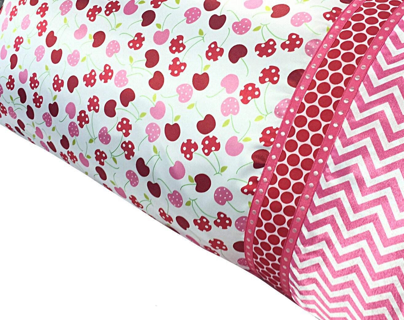 Satin Pillowcase Cherry Amp Chevron Print Red Pink Hot