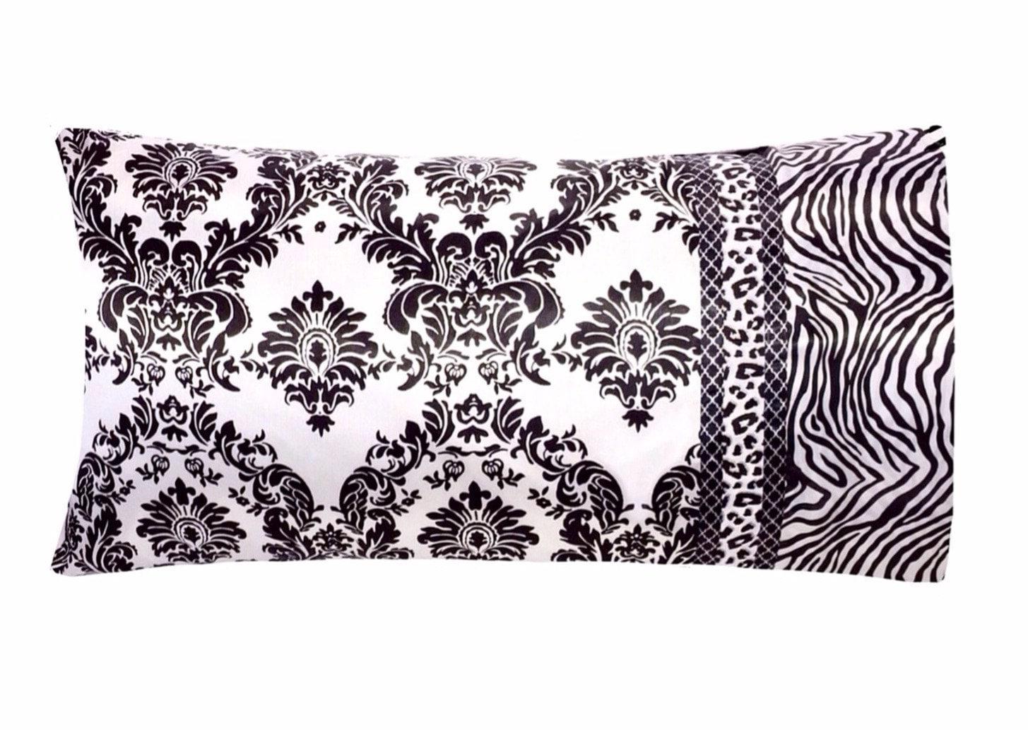 Victorian Damask Satin Pillow Case Black And White Satin