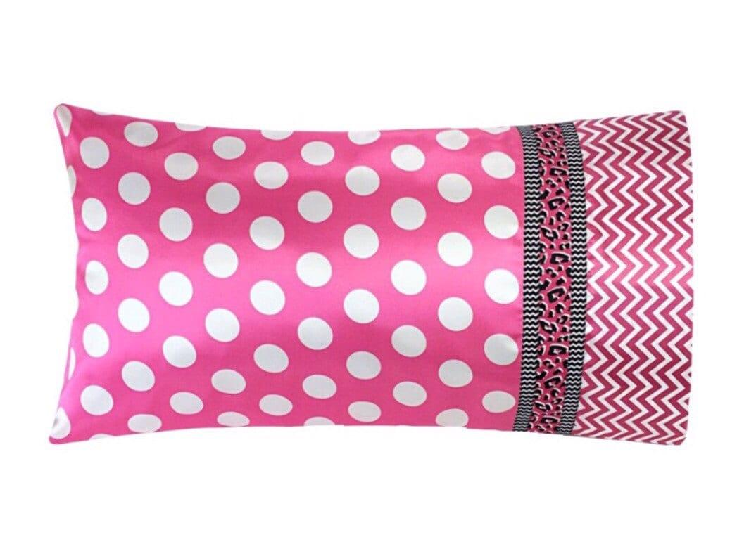 Bright Pink Polka Dot Satin Pillow Case, Pink Chevron