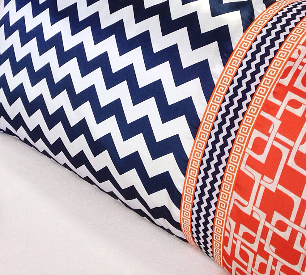Chevron Satin Pillowcase, Navy Chevron Pillow Case, Navy