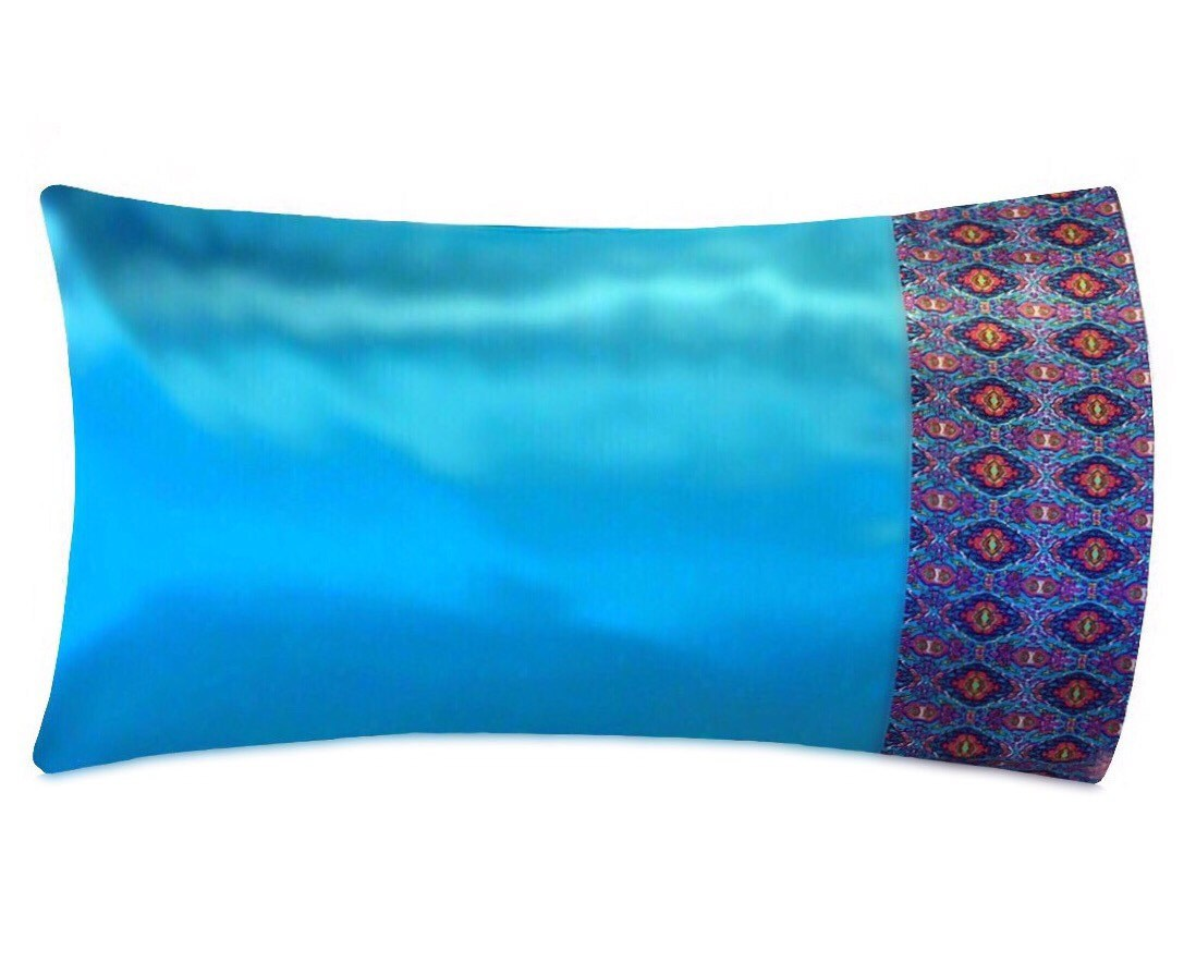 Aqua Amp Boho Print Satin Pillowcase Aqua Satin Pillow Case