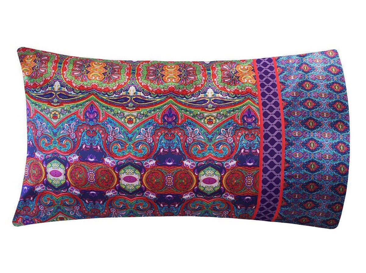 Boho Satin Pillowcase Bohemian Pillow Case Red Purple