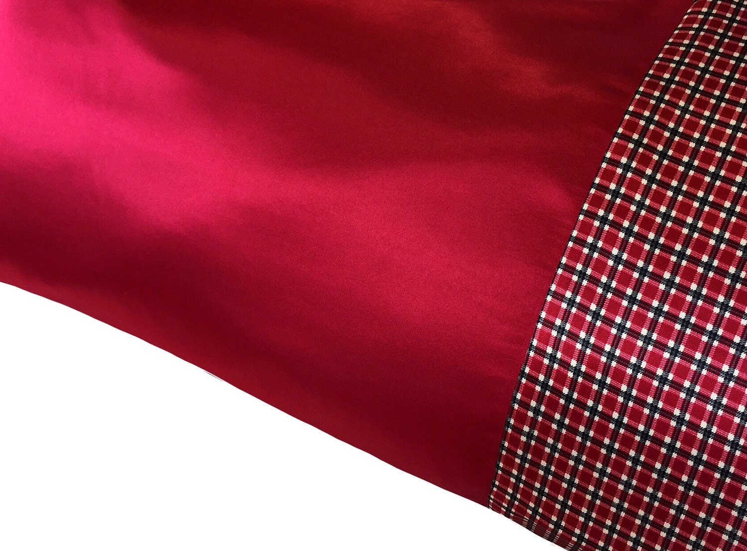 Cranberry Red Amp Plaid Satin Pillowcase Deep Red Pillow