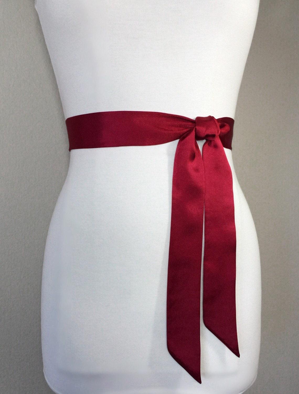 Cranberry Red Sash, Deep Red Satin Sash, Dress Sash Belt, Bridesmaid ...