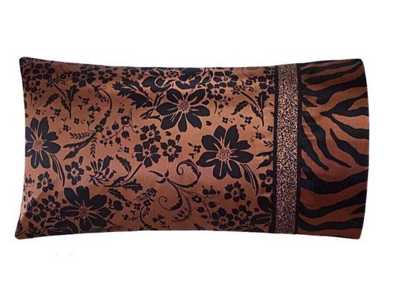 Satin Pillowcase Moroccan Pillow Pink and Brown Bohemian Bedding Pink Mandala Pillow Case Satin Swank Luxury Bedding Boho Pillow Case