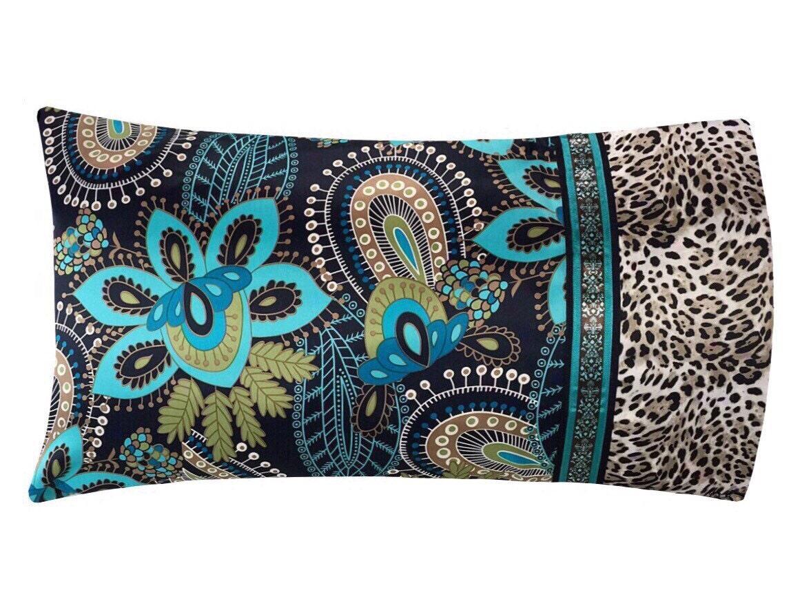 Aqua Floral Amp Paisley Satin Pillowcase Bohemian Pillow
