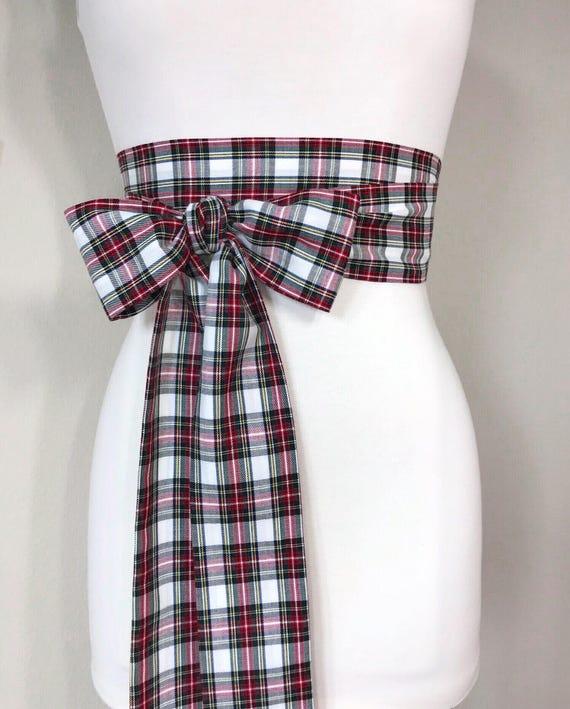 Stewart Dress Tartan Sash Belt, Stewart Tartan Sash, Christmas Plaid Sash Belt, Stewart Plaid Sash, Holiday Dress Accessories, Satin Swank