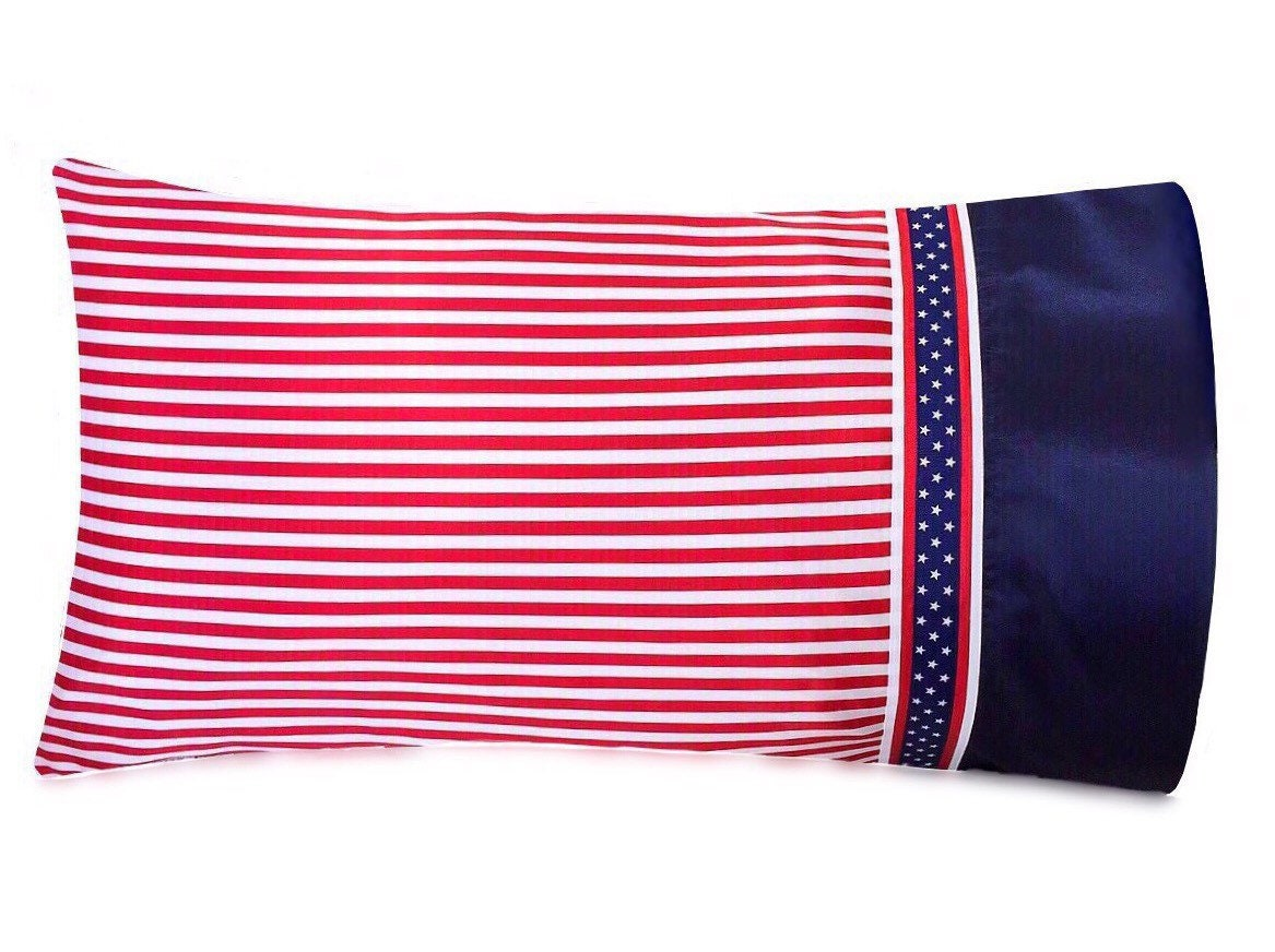 Patriotic Pillowcase American Flag Pillow Case Red White