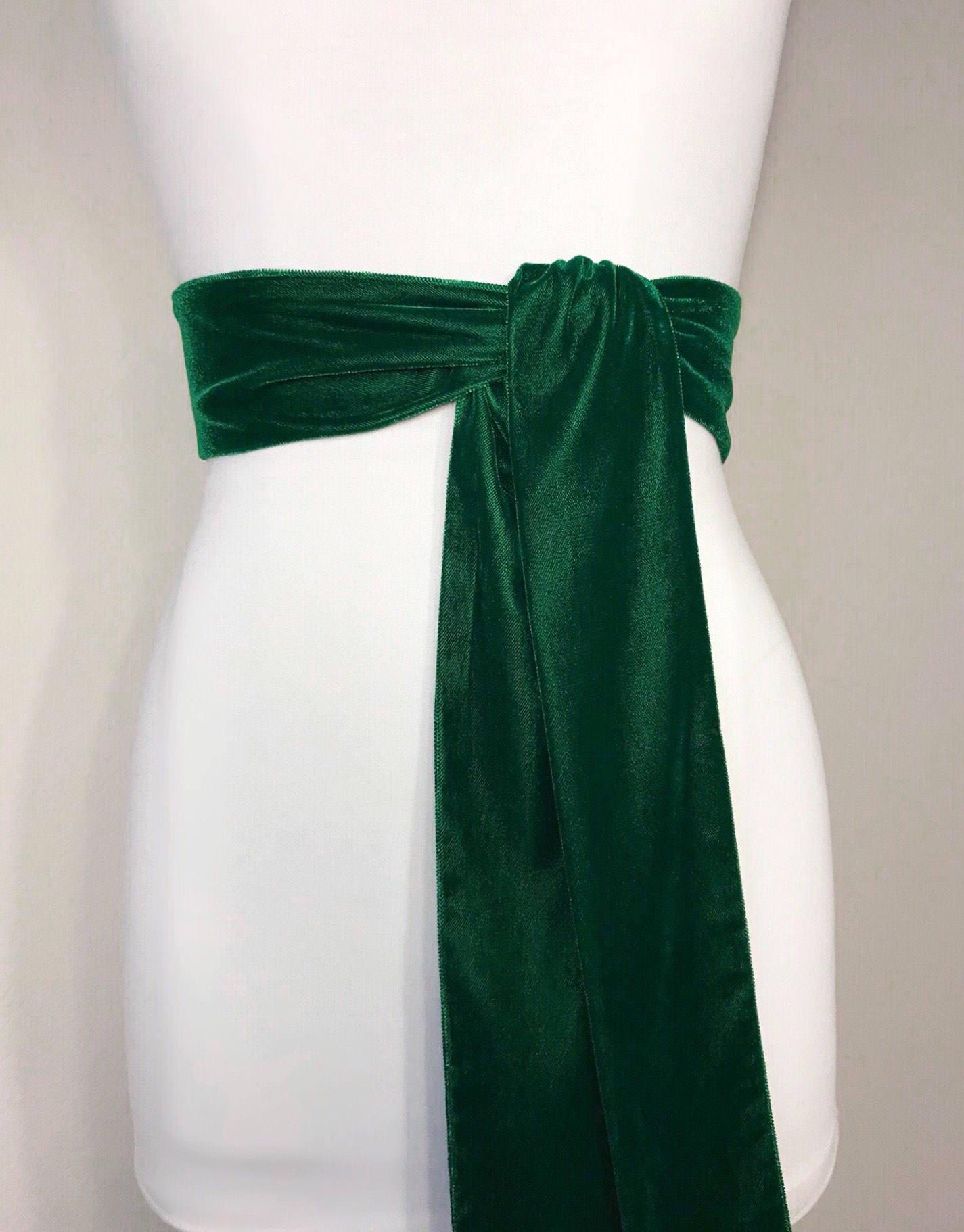 29c7f90a2985c Emerald Green Velvet Sash, Green Sash In Plush Velvet, Emerald ...