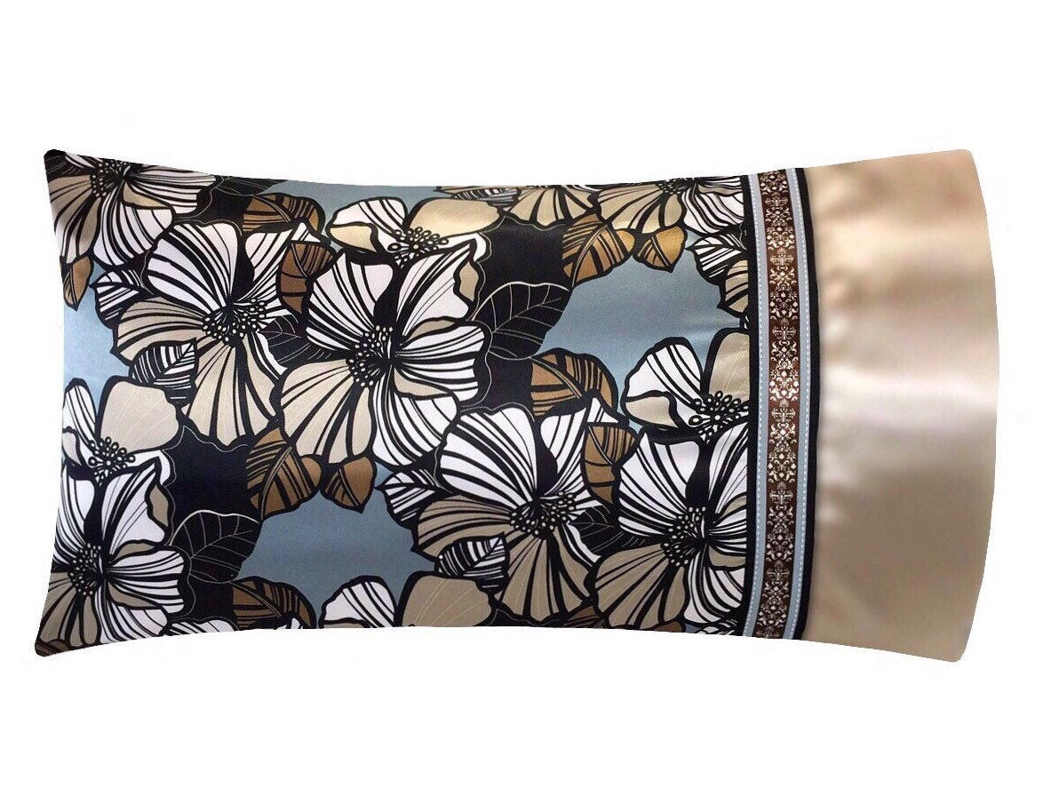 Hibiscus Floral Satin Pillowcase Champagne Beige Amp Blue
