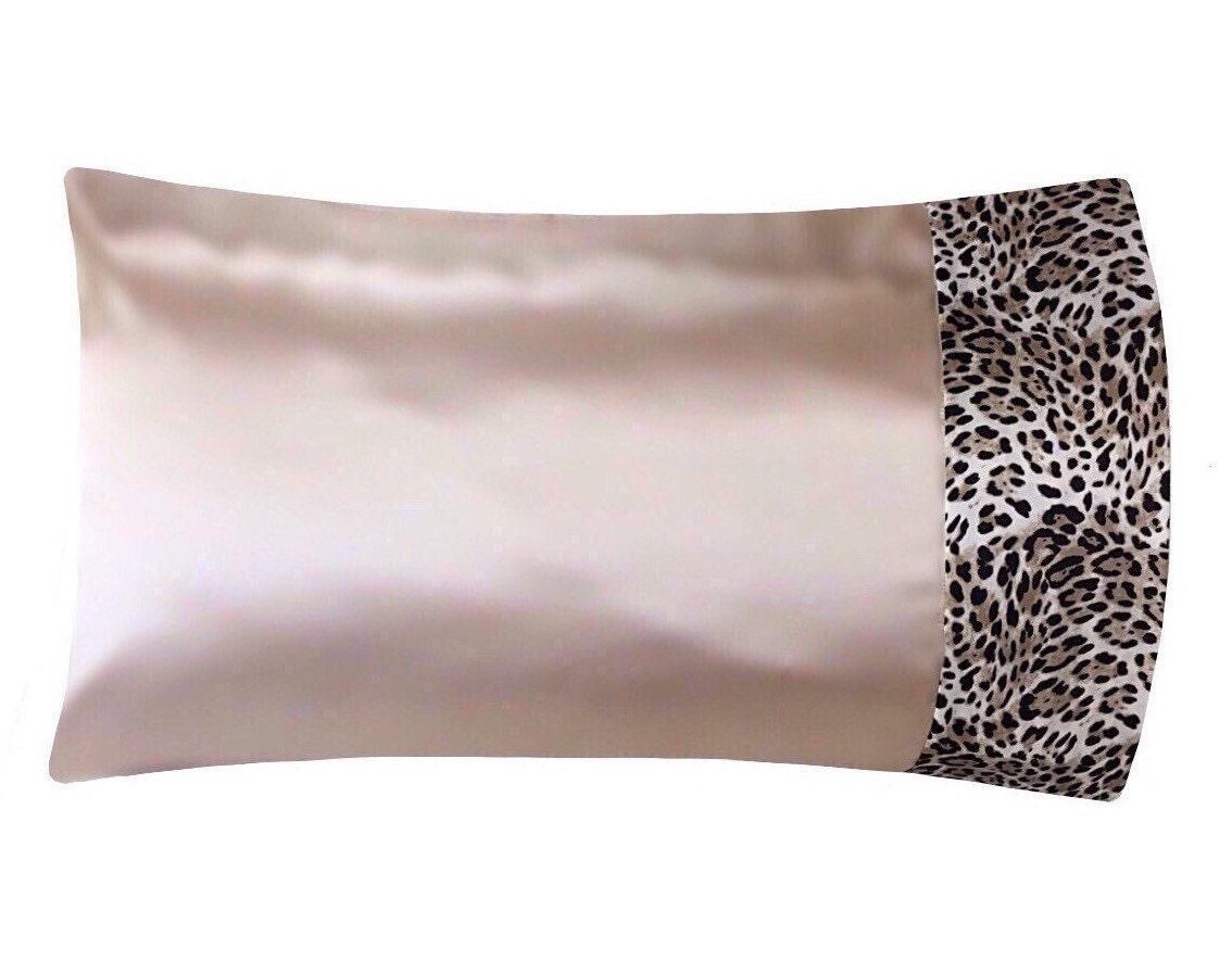 Deep Champagne Beige Amp Leopard Satin Pillowcase Champagne