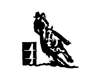 0708fc6a28fba Barrel Racing Cowgirl Car Decal