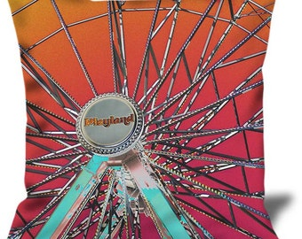 "Playland 2 22""x22"" Velveteen Pillow Cover Playland Park NYC"