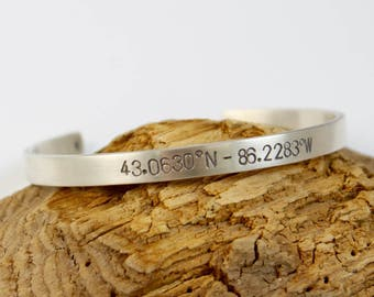 Latitude Longitude Simple Silver Cuff, Personalized Unisex Stamped Sterling Cuff, Michigan Jewelry, Coordinates Bracelet, Lat Long Cuff