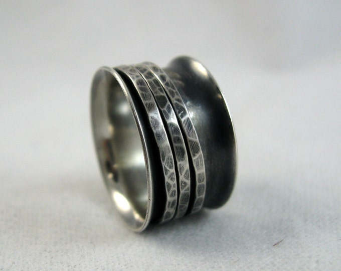 Featured listing image: Spinner Ring | Sterling Silver Fidget Ring | Wide Band Ring With Spinning Rings | Oxidized Silver Textured Ring |