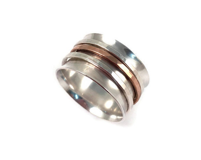 Featured listing image: Sterling Silver Spinner Ring |  Fidget Ring | Meditation Ring | Wide Band Ring With Custom Spinning Rings | Silver & Rose Gold