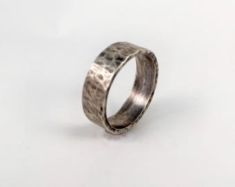 Oxidized Sterling Silver Men's Ring | Large Band, Thick Band, Textured Ring, Hammered Ring | Wedding Band