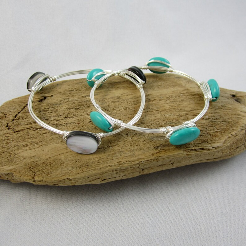 Wire Wrap Beaded Bangle Instructions Step-by-Step Pattern image 0