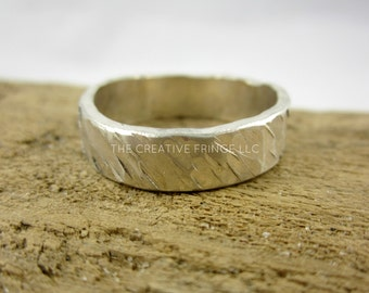 Men's Unisex Sterling Silver Ring, Textured With Cross Stamped Inside | Custom Wedding Band Fit To Size