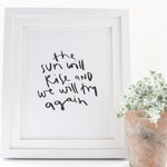 the sun will rise and we will try again print // inspirational grey home decor print // hand lettered print // try print