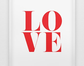 love print // red love print //  modern typographic love print  // anniversary gift // love poster