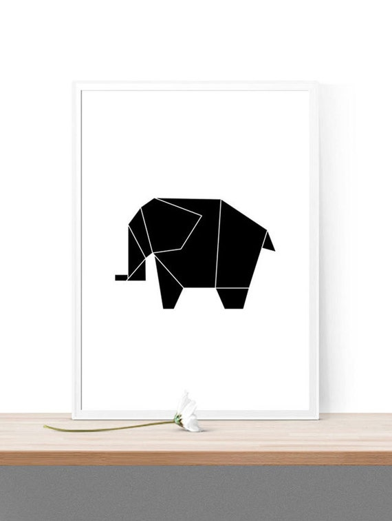 Printable Origami Elephant Home Decor Nursery Print