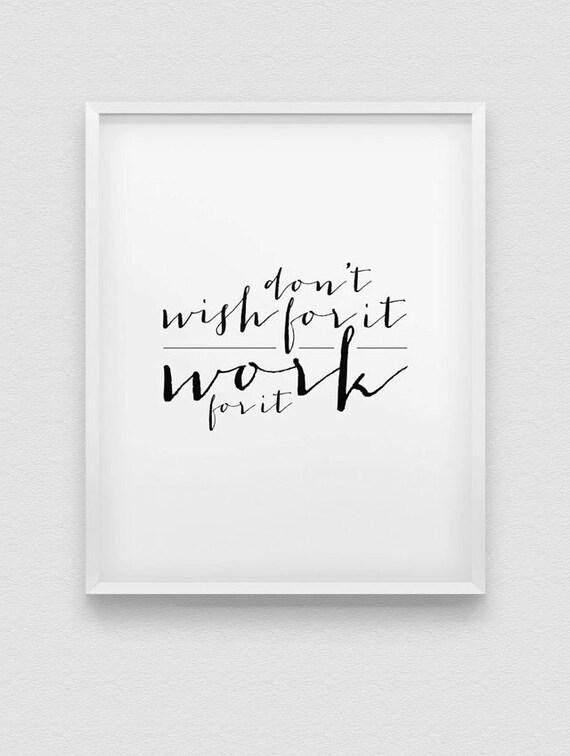 Decoración De La Pared Motivacional Trabajo Para él Imprimir Blanco Y Negro Decoración Casera Tipográfica Decoración De Oficina