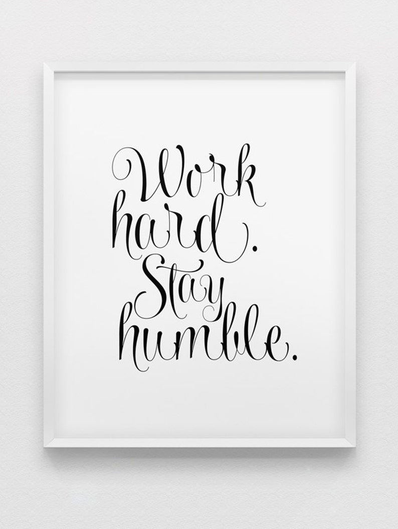 motivational wall decor // work hard stay humble print // image 0