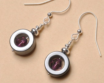 Circle Earrings with Amethyst Bead Inside, Swarovski Crystal,  Dark Amethyst, Circle Earrings