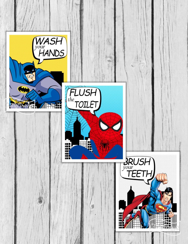 SUPERHERO BATHROOM Wall Art Batman room decor Superman Boys | Etsy