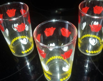 3 Vintage tumblers glasses red and white tulips.