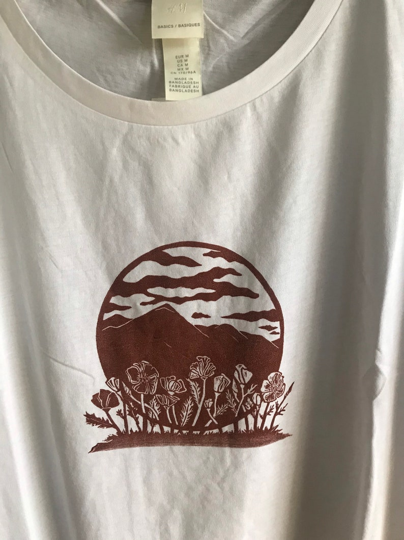 Woman\u2019s Shirt with hand carved block printed Mountains and Poppies