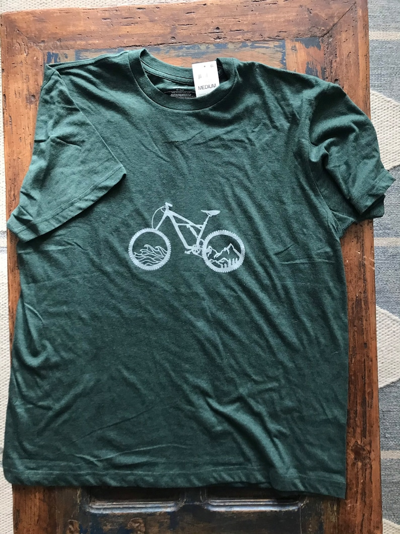 Hand Carved Mountain Bike mountain and waves Block TShirt