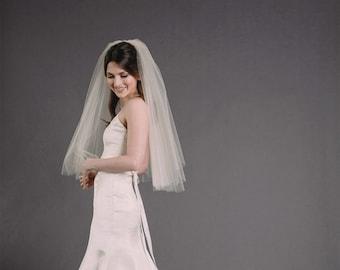 SIENNA VEIL | elbow length circle veil, drop veil, veil with blusher, wedding veil, bridal veil, diamond white, ivory, white