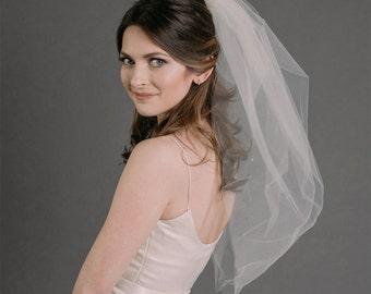 Bubble Veil with Rhinestones, Wedding Veil, Pouf Wedding Veil, Short Veil, Fashion Veil, Two-tiered Veil, STYLE: HOLLY