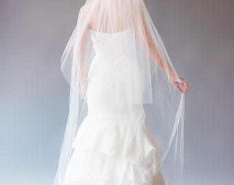 Chapel Veil With Blusher, Veil with Blusher, Wedding Veil, Bridal Veil, Long Veil with Blusher, Two Tier Veil, STYLE: JESSICA