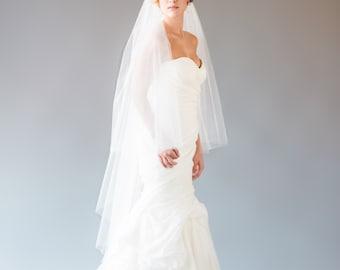 Knee Length Veil, Waltz Length Veil, Veil with Blusher, Wedding Veil, Ivory Veil, 2 Layer Veil, 2 tier waltz length veil, STYLE: CAMILLA