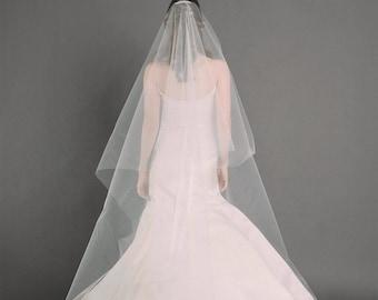 W.J. VEIL | cathedral length drop veil, bridal veil, wedding veil, long veil, circle drop veil, white, diamond white, ivory tulle