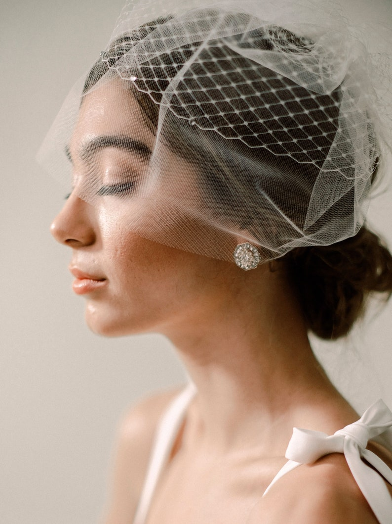 Iris Veil  Birdcage Veil with Diamond Netting and Bridal image 0