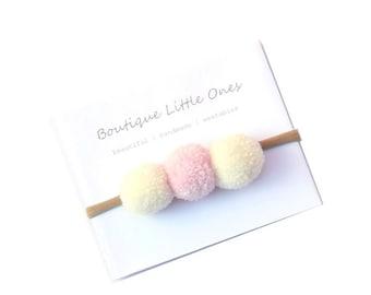 Cute Pom Pom Headband Pom Pom Baby Headband Pink White Pom Pom Headband 100% Merino Wool Pom Pom Hair Clip Australia